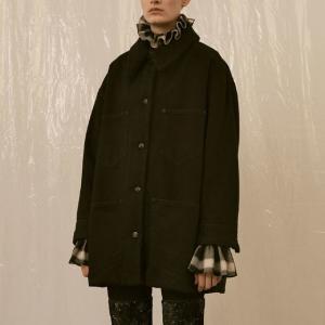エムエムシックス メゾンマルジェラ MM6 MAISON MARGIELA ムートンコートジャケット デニム ブラック|yokoaunty