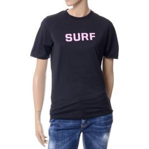 ディースクエアード(Dsquared2) SURF半袖カットソー コットンジャージー ブラック yokoaunty