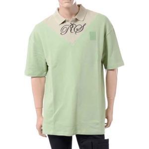 ラフシモンズフレッドペリー Raf Simons Fred Perry オーバーサイズVインサートポロシャツ コットン バジル|yokoaunty