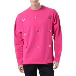 ラフシモンズ RAF SIMONS フレッドぺリー FRED PERRY ロングTシャツ コットンポリエステル ポップピンク|yokoaunty