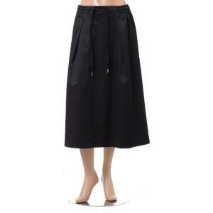 スタジオヨコ Studio yoCo ウエストゴム紐付きスカート ポリエステル混合 ブラック yokoaunty