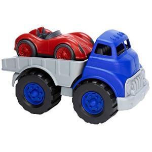 Green Toys (グリーントイズ) フラットベッドトラック レースカー付き|yokobun