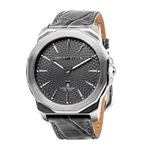 [ペリー・エリス] 腕時計 DECAGON(デカゴン) クォーツ 46 mmケース 本革バンド 05005-01 メンズ 正規輸入品 グレー yokobun