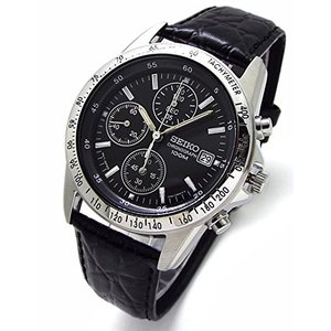 SEIKO クロノグラフ 腕時計 本革ベルトセット 国内セイコー正規流通品 ブラック SND367P1 [並行輸入品] yokobun