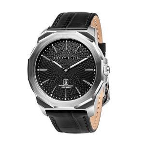 [ペリー・エリス] 腕時計 DECAGON(デカゴン) クォーツ 46 mmケース 本革バンド 05002-01 メンズ 正規輸入品 ブラック yokobun