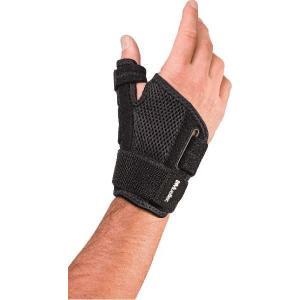 1)痛めた親指を固定し保護 2)2本の内臓プラスチック製ステーが親指を固定し、そり返りを防止 3)3...