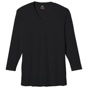 ミズノ 【ブレスサーモエブリ】Vネック長袖シャツ ブラック(c2ja560109)