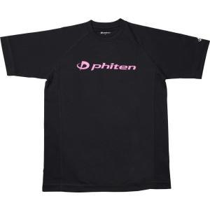 PHITEN ボディケア RAKUシャツ SPORTS 吸汗速乾 半袖 ロゴ入り ブラック ロゴ:ピンク LL 16 Tシャツ jg167106 の商品画像|ナビ