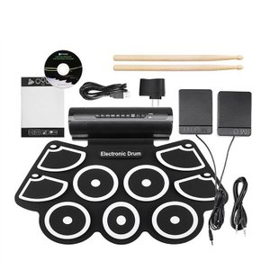 初心者 電子ドラム USB充電  9個ドラムパッド ドラムスティック付き 練習 入門 子供 練習用 ポータブルドラム  外部音源入力可能 ddg02の画像