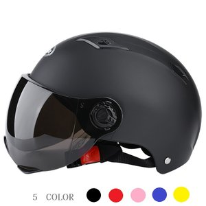 バイクヘルメット 男女兼用 フリーサイズ ハーフヘルメット 5カラー 半キャップ 艶消しブラック 半...