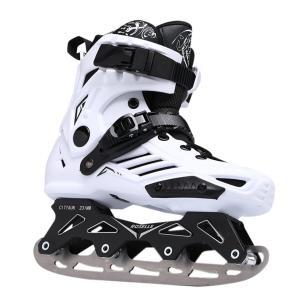 大人用アイススケートシューズ  2way アイススケート/ローラースケート ホッケーアイススケート  収納袋付き ブラック/ホワイト xzbdx02