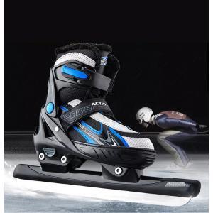 アイススケート シューズ スピードアイススケート 氷靴 2カラー 子供用 大人用 XS-L レッド/ブルー xzbdx05