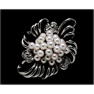 あこや真珠K18WGブローチ yokota-pearl