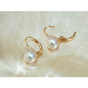 あこや真珠 7.5mm K18 レバーバックピアス|yokota-pearl