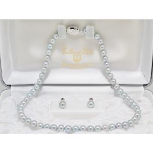 真多麻(まだま) パールネックレス あこや真珠 ナチュラルブルー 鑑別書つき ブルー(グレー)系 7.0mm〜7.5mm ネックレス イヤリングまたはピアス 2点セット|yokota-pearl
