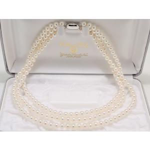 6.0mm〜6.5mm 3連 あこや真珠ネックレス|yokota-pearl