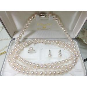 高品質あこや真珠ネックレス8.5mm〜9.0mm 120cmロングネックレス3点セット|yokota-pearl