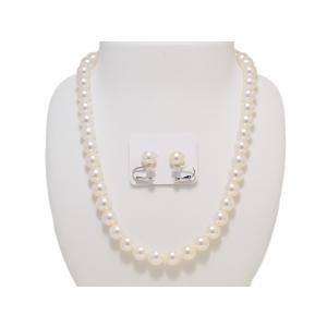 あこや 真珠 9.0mm〜9.5mm パール ネックレス イヤリング ピアス 2点セット 冠婚葬祭 レディース|yokota-pearl