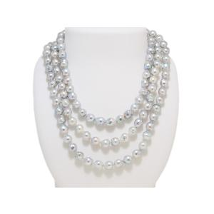 あこや  真珠 バロック パール ネックレス ブルー 120cm ロング 7.5mm〜8.0mm レディース ファッション|yokota-pearl