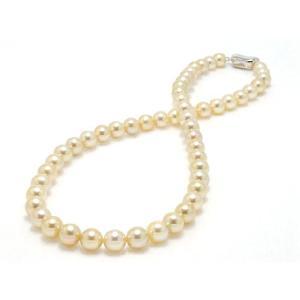 あこや真珠ネックレス ナチュラルゴールド7.5mm〜8.0mm【ゴールデンパール】|yokota-pearl