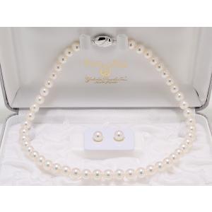8.0mm〜8.5mm オーロラ天女鑑別書つき あこや真珠ネックレス イヤリングまたはピアス8.1mm 2点セット|yokota-pearl