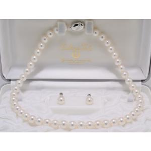 パールネックレス あこや 真珠 8.5mm〜9.0mm オーロラ天女鑑別書つき ネックレス イヤリングまたはピアス 2点セット 冠婚葬祭 レディース|yokota-pearl