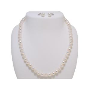 パールネックレス あこや 真珠 7.5mm〜8.0mm 冠婚葬祭 オーロラ天女鑑別書つき ネックレス イヤリングまたはピアス 2点セット レディース yokota-pearl