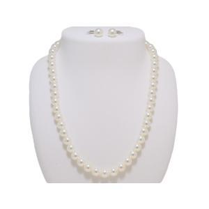 パールネックレス 無調色 あこや 真珠 冠婚葬祭 8.0mm〜8.5mm オーロラ天女鑑別書つき ネックレス イヤリングまたはピアス 2点セット レディース|yokota-pearl