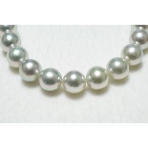 真多麻鑑別書つきあこや真珠ナチュラルグレー(ブルー)ネックレス9.5mm〜10.0mm|yokota-pearl