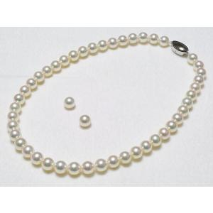花珠鑑別書つきあこや真珠ネックレス9.0mm〜9.5mm・イヤリング(ピアス)9mm 2点セット|yokota-pearl