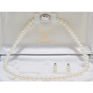 【ちょっと訳あり】【オーロラ花珠鑑別書つき】あこや真珠7.0mm〜7.5mmネックレス・イヤリング(ピアス)7.5mm 2点セット|yokota-pearl