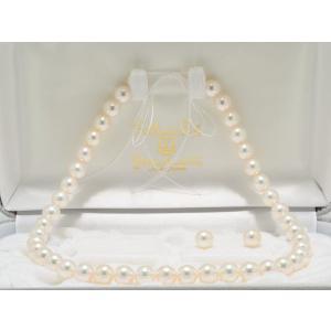 オーロラ天女(花珠)鑑別書つきあこや真珠ネックレス9.0mm〜9.5mm・イヤリング(ピアス)9mm 2点セット|yokota-pearl