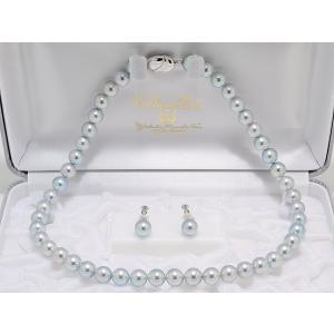 真多麻 まだま あこや真珠ナチュラルグレー/ナチュラルブルー ネックレス 8.5mm〜9.0mm 2点セット|yokota-pearl