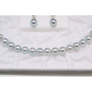 真多麻 まだま あこや真珠ナチュラルグレー/ナチュラルブルー ネックレス 8.5mm〜9.0mm 2点セット|yokota-pearl|04