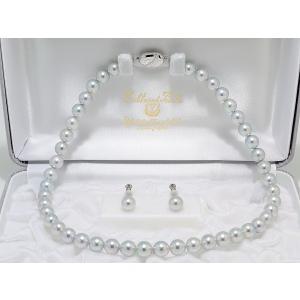 真多麻(まだま) あこや真珠ナチュラルグレー(ナチュラルブルー)ネックレス8.5mm〜9.0mm 2点セット|yokota-pearl