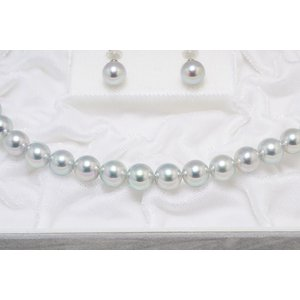 真多麻(まだま) あこや真珠ナチュラルグレー(ナチュラルブルー)ネックレス8.5mm〜9.0mm 2点セット|yokota-pearl|04