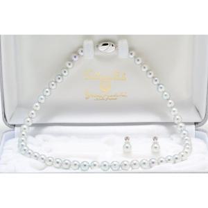 【真多麻(まだま)】あこや真珠ナチュラルグレー(ナチュラルブルー)ネックレス7.5mm〜8.0mm 2点セット|yokota-pearl