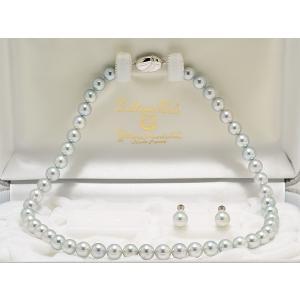 あこや真珠ネックレス8.0mm〜8.5mm ナチュラルブルーグレー 真多麻鑑別書付き 2点セット|yokota-pearl