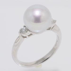 パール リング 指輪 10mm オーロラ真多麻 ナチュラルブルー 鑑別書つき あこや真珠 プラチナリング 指輪 Pt.900 yokota-pearl