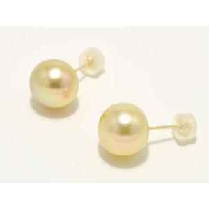 南洋(白蝶)真珠ピアス ナチュラルゴールド 10.5mmUP (ゴールデンパール)|yokota-pearl
