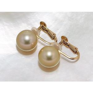 パールイヤリング 南洋真珠(白蝶真珠)ゴールド系 10mmUP K18 イヤリング ピアス|yokota-pearl