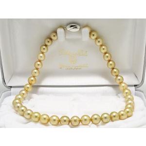 南洋白蝶ゴールデンパールネックレス10mmX10.8mm(ナチュラルゴールド)|yokota-pearl