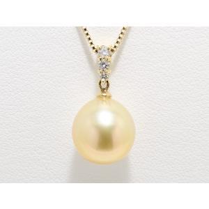パールペンダント Golden 南洋真珠  白蝶真珠 ナチュラル ゴールド パール ペンダント 11mm ドロップ|yokota-pearl