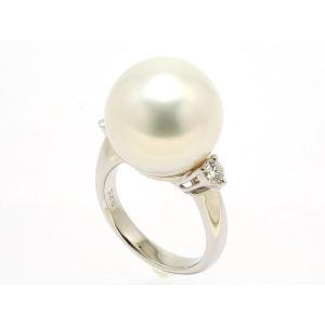 南洋真珠(白蝶真珠)15.3mmリング プラチナ枠 D0.25ct White Lip鑑別書つき|yokota-pearl