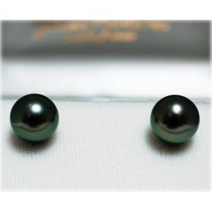 黒蝶真珠(黒真珠)イヤリング/ピアス10mm ピーコックグリーン yokota-pearl
