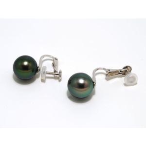 黒蝶真珠(黒真珠)イヤリング10mm ピーコックグリーン yokota-pearl