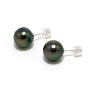 黒蝶真珠(黒真珠)ピアス10.5mm ピーコックグリーン yokota-pearl