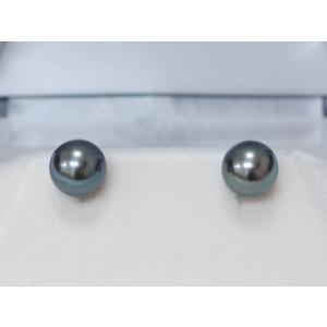黒蝶真珠 黒真珠 10.5mm イヤリング/ピアス モスグリーン yokota-pearl