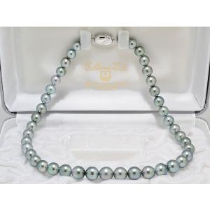 8mmX10.5mm 黒蝶真珠 (黒真珠) ネックレスグレー系|yokota-pearl