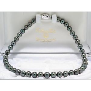 黒蝶真珠(黒真珠)ネックレス8.3mmX11mm ダークグリーン系|yokota-pearl